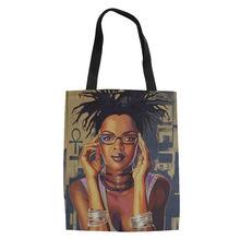 FORUDESIGNS Pesados Sacos De Compras Das Mulheres Da Arte Africano Negro menina Impressão Saco de Compras Livro Faculdade Adolescentes Sacos Mulheres Bolsa(China)