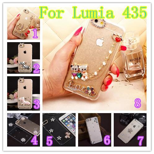 Для Nokia Lumia 435 дело Luxury Кристалл Алмаза ясно Твердый Переплет Чехол Для Microsoft Lumia 435 цветок Шику Алмаз случае чехол для nokia lumia 435 lumia 532 nokia cc 3096 зеленый