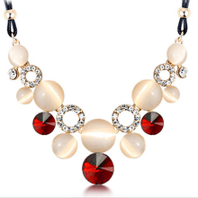 4 colors Hot Sale Necklaces For Women Fashion Rope Chain Opal Rhinestone Crystal Choker Necklace Jewelry Clothing Accessories(China (Mainland))
