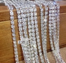 10yards silver base Clear crystal SS6(2mm) intensive silver base Strass style diy beauty accessories sew on rhinestones chain(China (Mainland))