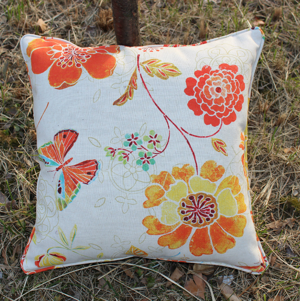 Throw Pillows Bulk : 2pcs/lot wholesale orange flower embroidery cotton cushions cover throw pillows case cover sofa ...