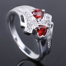 Bulk Lots 6Pcs Women eLuna Twin hearts Stones Red Garnet Silver Ring J7978 Size 7 Size