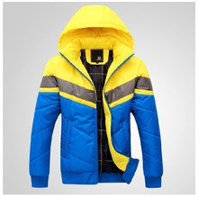2015 winter men down jacket padded clothes fashion hooded thickening cotton-padded jacket coat
