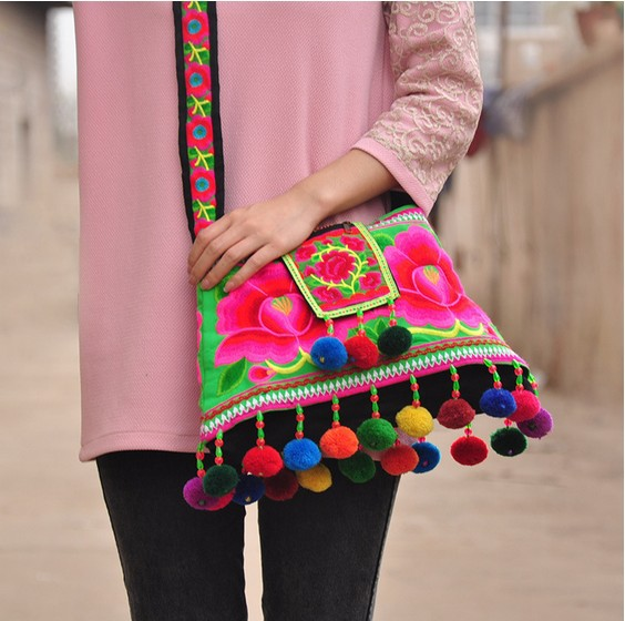 HOT sale Ethnic Cotton Fabric Peony Embroidered Shoulder bags handmade beaded Pompon Messenger bags red / blue / green(China (Mainland))