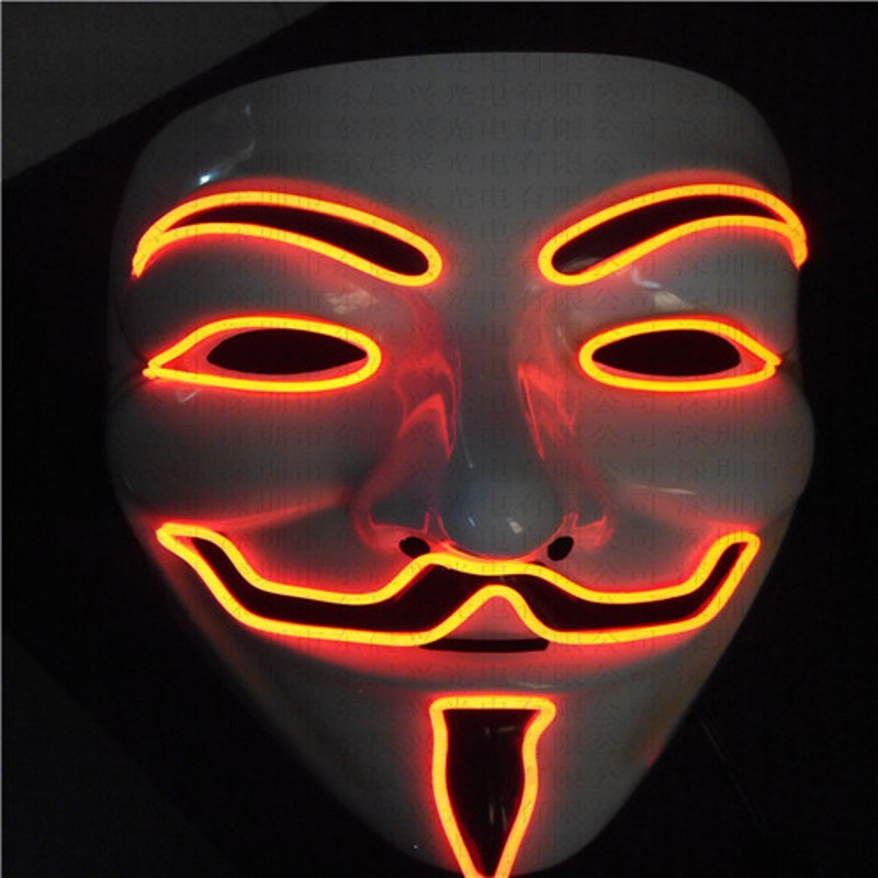 2016 EL wire Vendetta mask Party Fashion V Cosplay MASK Costume Guy Fawkes Anonymous mask for party Halloween scary decorations(China (Mainland))