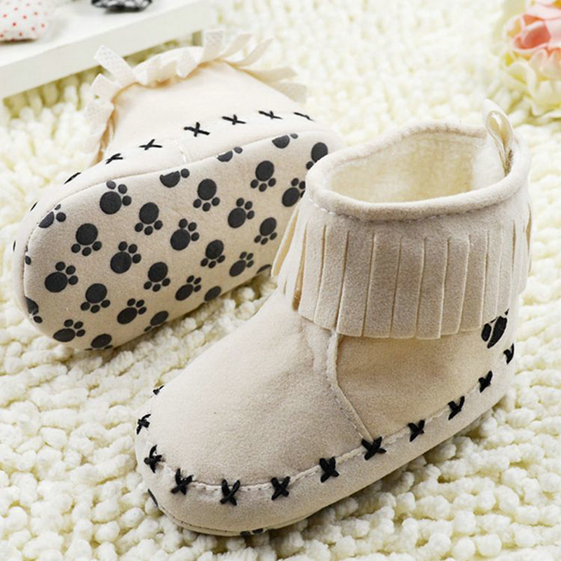 Khaki Black Pink Toddler Winter Warm Boots Baby Shoes Girls Tassel Booties SIZE 1-18M(China (Mainland))