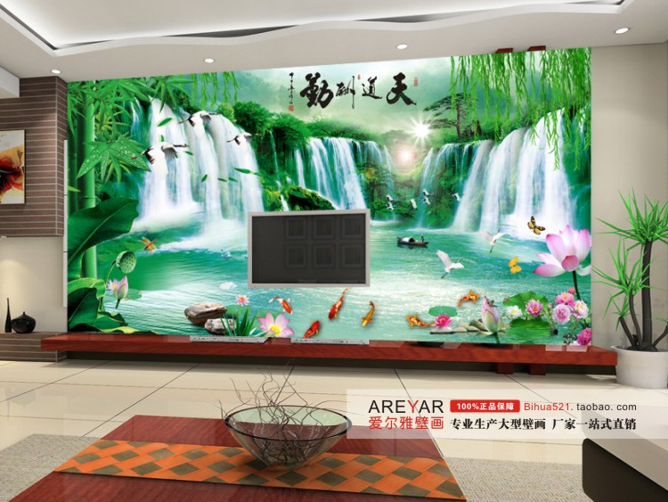 Mural tv wall wallpaper bamboo for Bamboo wall mural wallpaper