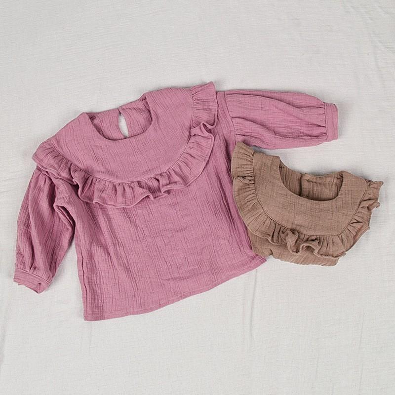 Baby Girls princess ruffles sleeve blouses Slub cotton Lotus leaf collar shawls shirts Soft waxy fashion cute Children garments
