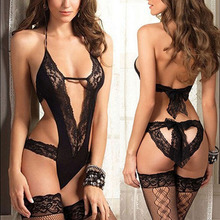 2016 New Women Sexy Lingerie Hot Lace Dress Underwear Sleepwear Babydoll Erotic Lingerie G-string Black Sexy Costumes SW343