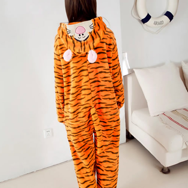 2016 Women Flannel Onesie For Adult Cut Animal Pajamas Onesies Winter Tigger Hooded Animal Sleep suit Pijama Free Shipping Одежда и ак�е��уары<br><br><br>Aliexpress