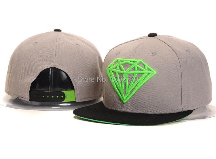 Brand New 2014 Skateboard Hip-Hop Cap Diamond Classic Logo Baseball Hat Cap Snapback Grey Green(China (Mainland))