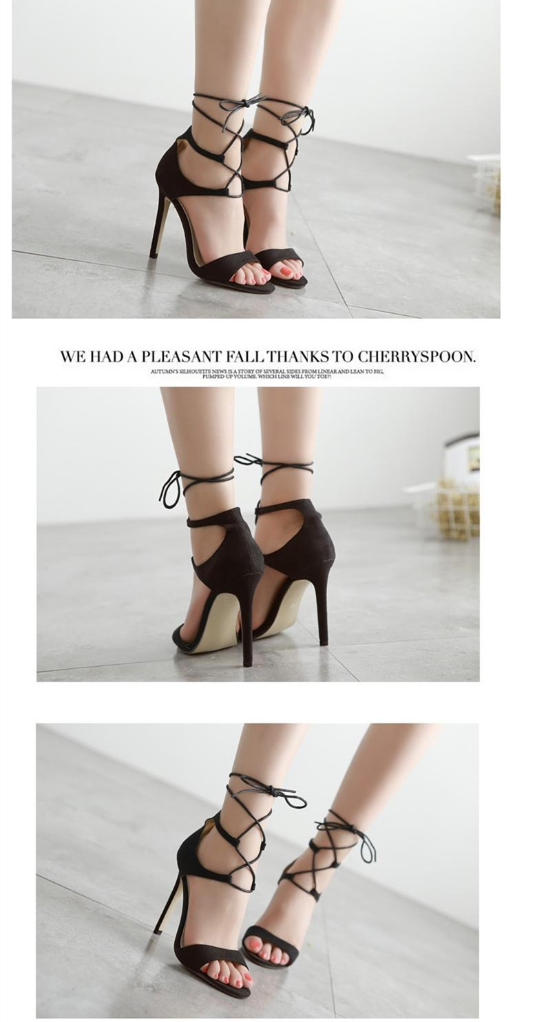 Size 4~9 Lace Up Black High Heels Women Pumps Top Fashion Casual Summer Women Shoes zapatos mujer (Check Foot Length)
