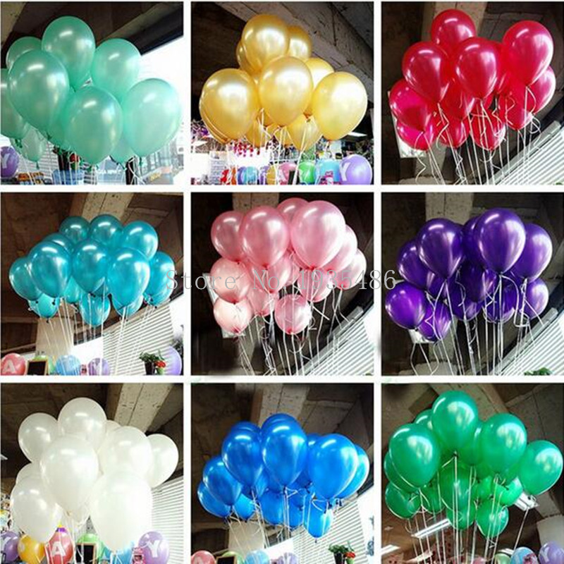 100pcs/lot 10 inch1.2g Latex balloon Helium Round balloons Multicolor Thick Pearl balloons Wedding Party Birthday Balloons