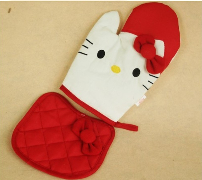 2set/lot Free Shipping Cotton Hello Kitty Microwave Oven Heat Insulation Gloves Twinset, Microwave Oven Gloves + Insulation Pad(China (Mainland))