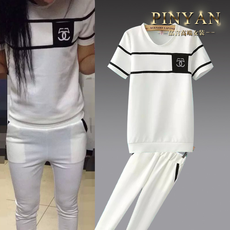 2015 Tracksuit Tracksuits European Summer Dress Suit And Pure Sport T-shirts Wholesale Leggings + Pencil Pants Bidding Agent(China (Mainland))