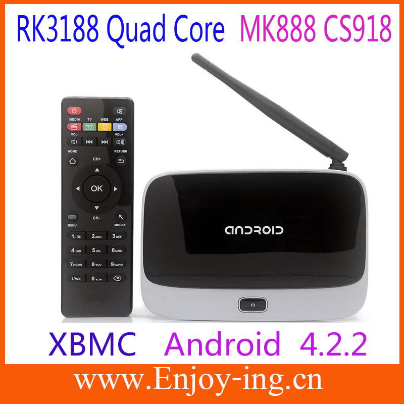 Super Full hd 1080p Android TV Box RK3188 Quad RJ-45 USB WiFi Antenna Smart TV Media Player with Remote Bluetooth Free shipping(China (Mainland))