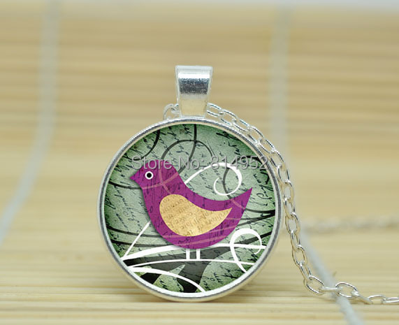 10pcs Colorful bird pendant Colorful bird necklace Colorful bird jewelry glass Cabochon Necklace A2255(China (Mainland))