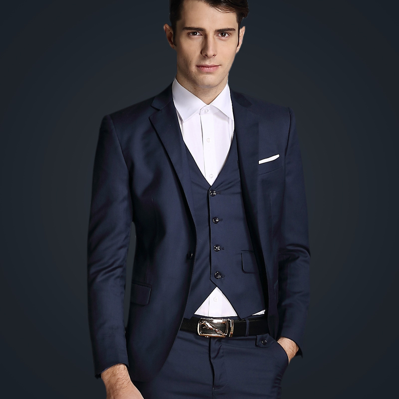 Top Quality 2015 Mens Slim Suits Set 3 Psc Blazer+Vest+Pants Groom Wedding Suits For Men Dress Suit Navy/Red/Grey Free Shipping(China (Mainland))