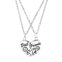 Hot Selling Two Pieces Combination Alloy Necklace Heart Shape Pendent Carved Best Friends Girlfriends Gift Free Shipping NL-0837(China (Mainland))
