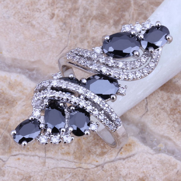 Black Sapphire White Topaz 925 Sterling Silver Overlay Ring For Women Size 5 / 6 / 7 / 8 / 9 / 10 / 11 / 12 S0178(China (Mainland))