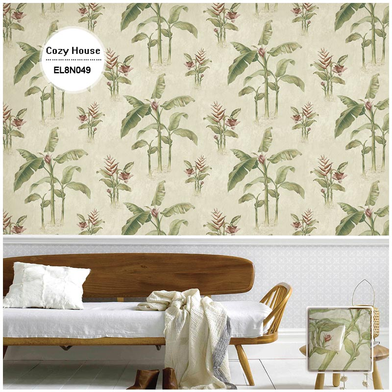 printed vinyl pvc wallpapers latte Southeast Asia banana tree wall paper for restaurant removable wall decals covering decor(China (Mainland))
