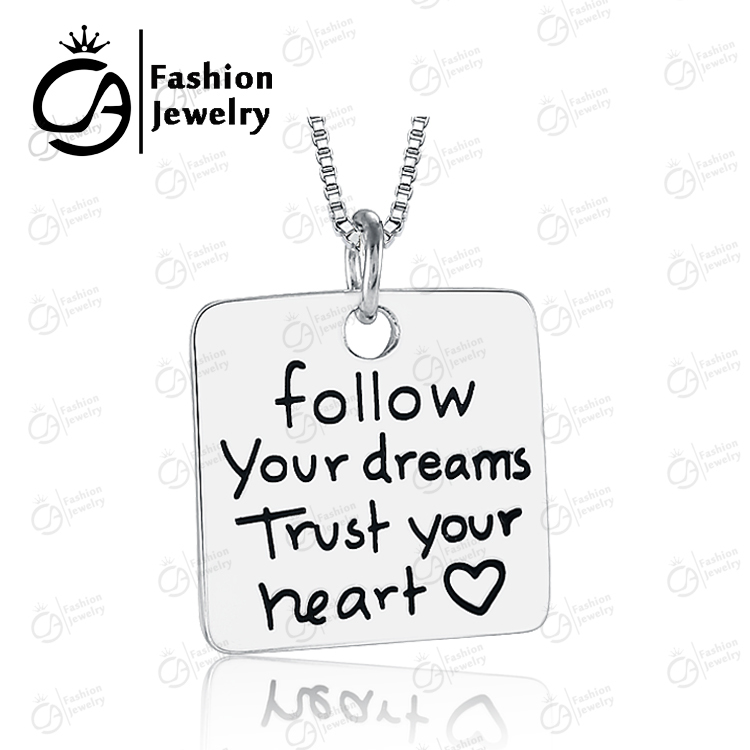 Fashion Follow Dream Trust Heart Silver Box Chain Pendant Necklaces Women Girls Gift Necklace Jewelry #LN916 - OLA JEWELRY store