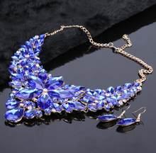 Mode Kristall Schmuck Sets Braut Halskette Ohrringe Sets Hochzeit Schmuck Kleid Schmuck Dekoration Zubehör(China)