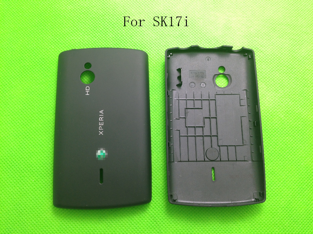 Black Color Free Shipping New Original Back Battery Cover Case Housing Replacement With Logo For Sony Ericsson Xperia SK17 SK17i(China (Mainland))