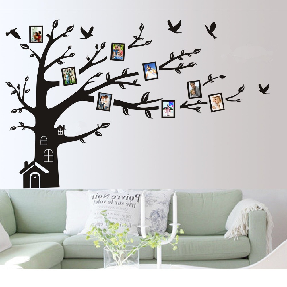 "CaCar new Large 180cmx250cm/72"" x 99"" Wall Art Sticker Family Photo Frame Tree Wall Decal Removable Vinyl Decor Birds Tree A015(China (Mainland))"