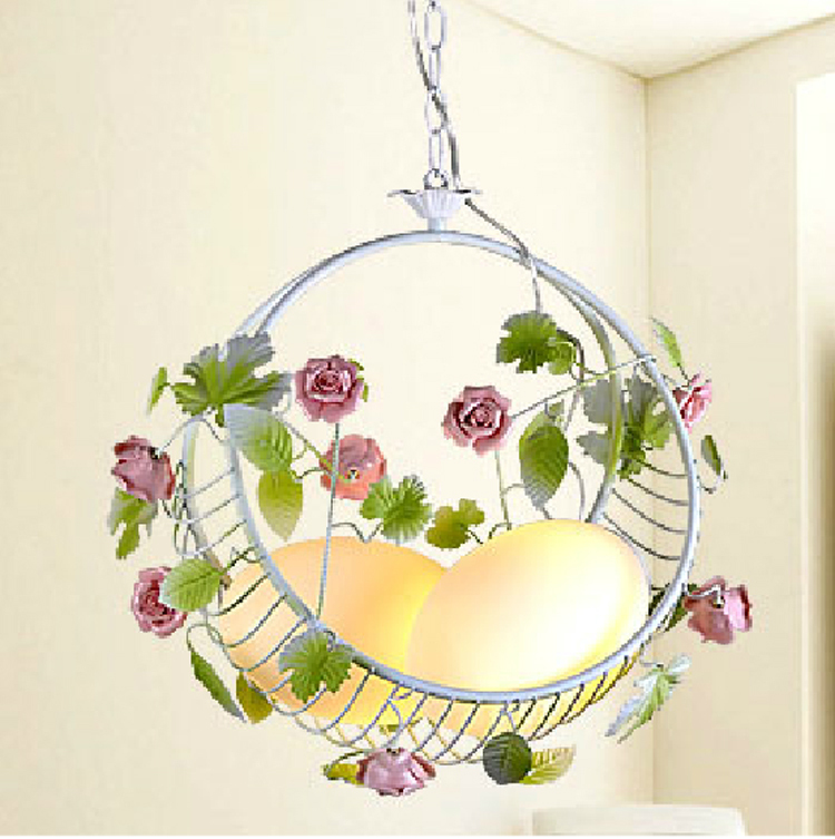 modern pendant lamp pink ceramic rose wrought iron flower and leaf pendant lighting green white color free shipping(China (Mainland))