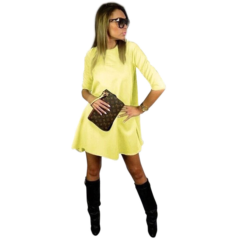 2015 Fashion New Women Half Sleeve Mini Dress Loose Casual Dress Autumn Spring Winter Dress Plus Size(China (Mainland))