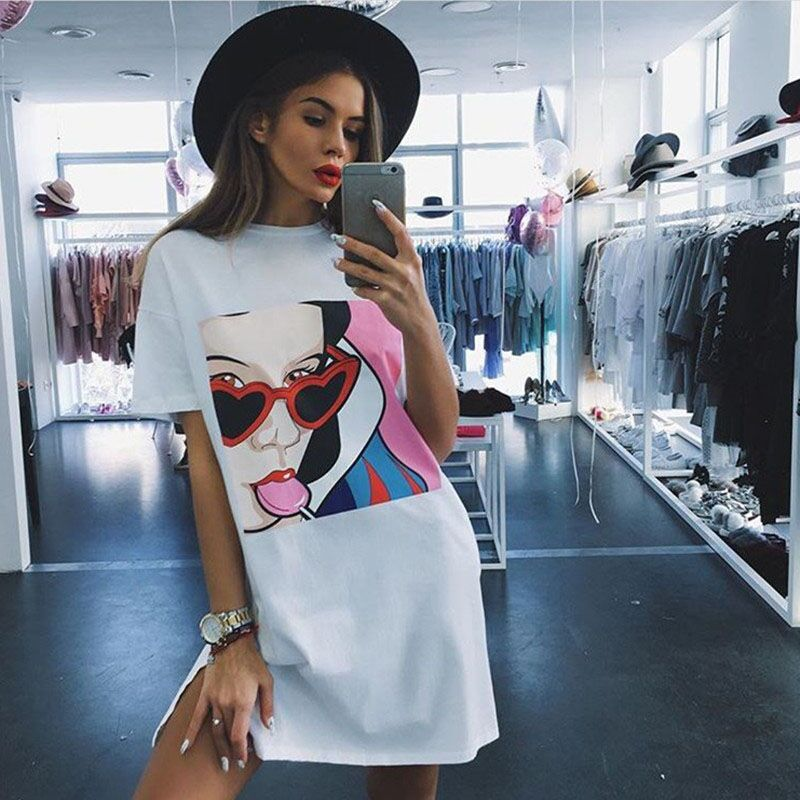 New Dress women 2016 Summer Dresses Character Candy Girl Print 100% Cotton Short Sleeve Casual Dresses Vestidos Robe Femmes(China (Mainland))