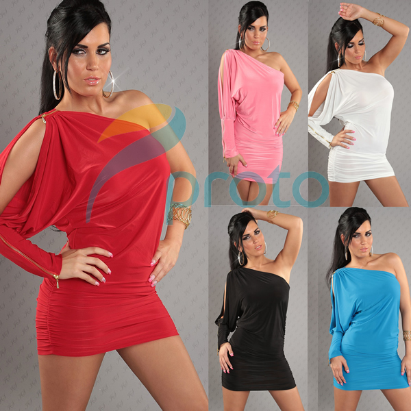 Freeshipping 2013 Women Fashion Off the Shoulder Ruffled Casual Dress Clubwear Party Dress Retail+Dropshipping
