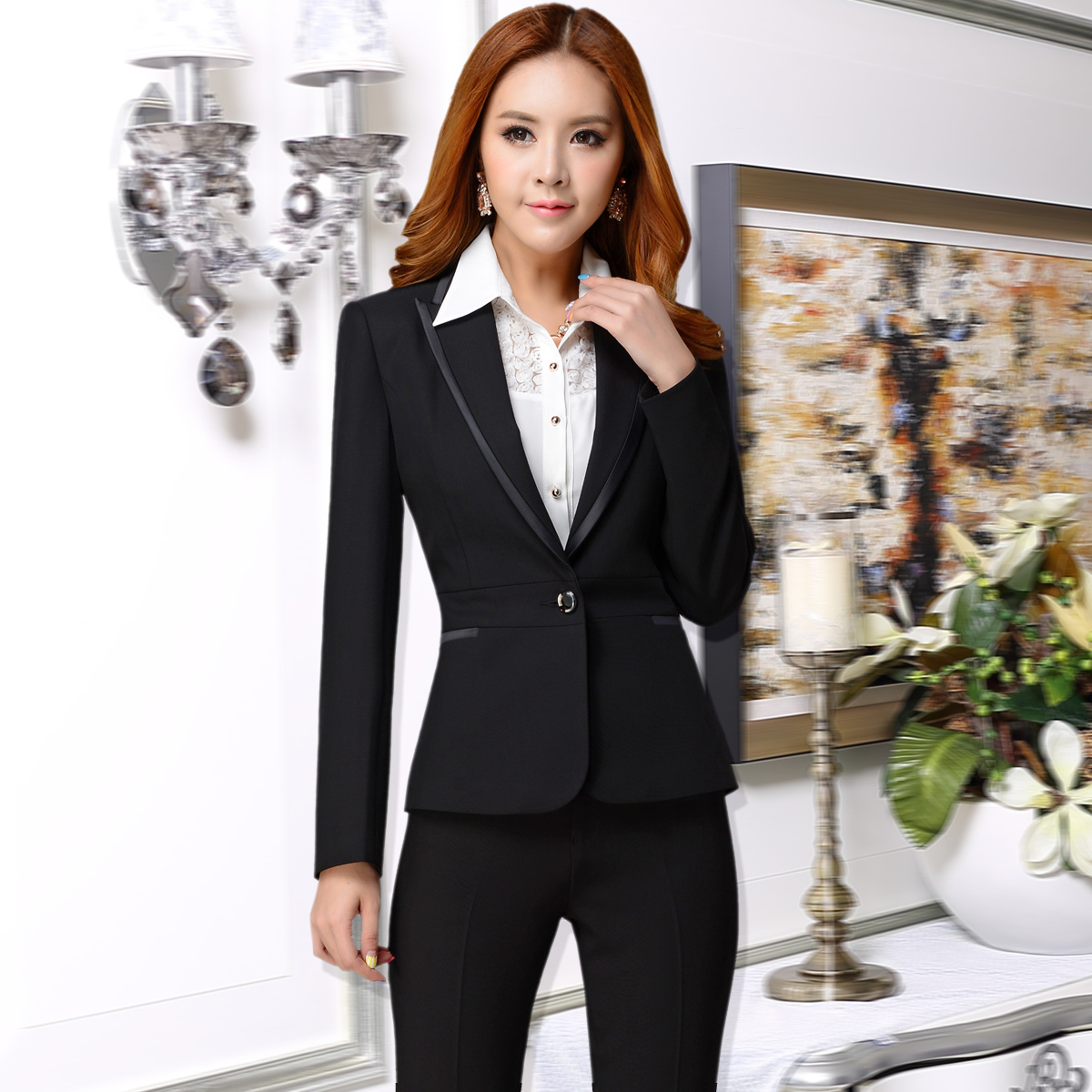 2014 New Style Women Business Suits Fashion Formal Office Suits With Pants Slim Fit Ladies ...