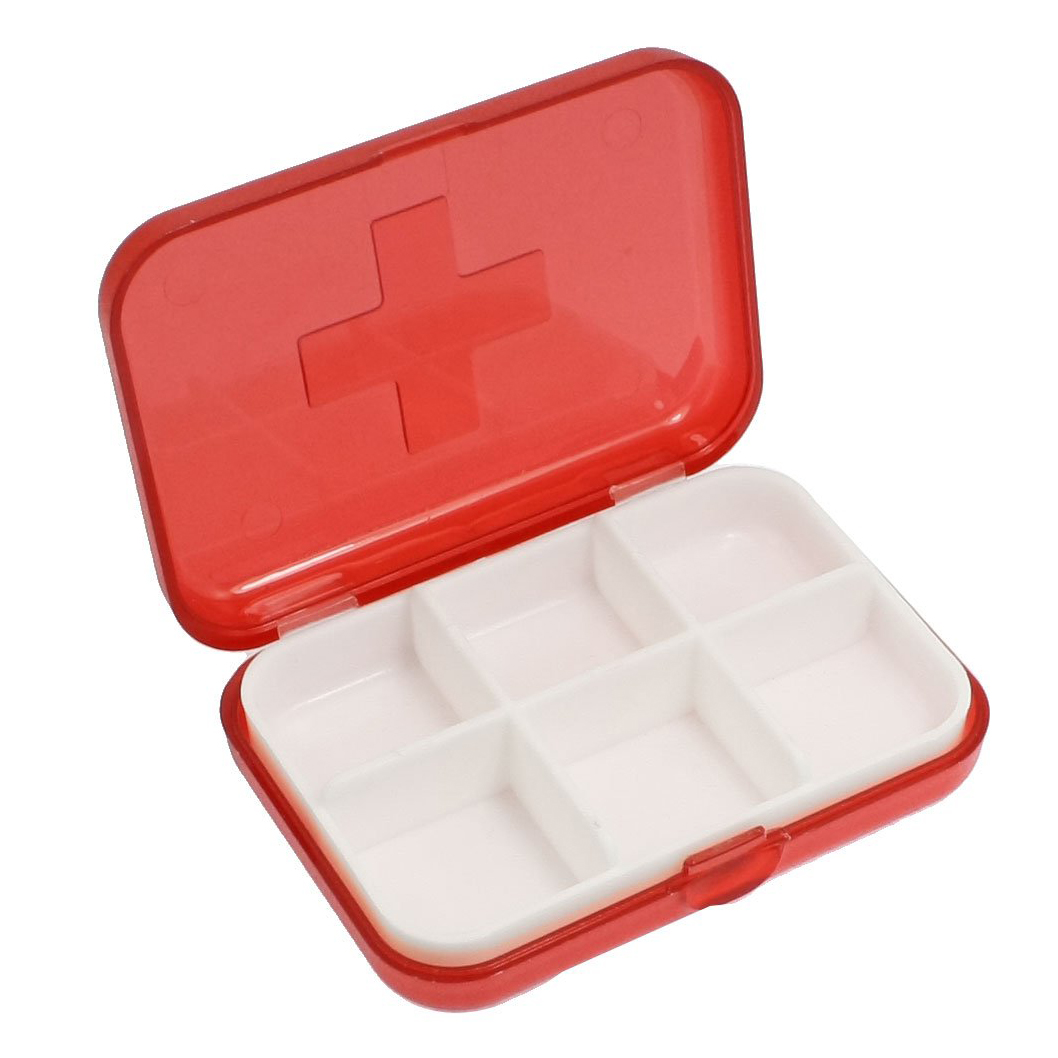 JEYL wholesale New Cross Marked 6 Rooms Medicine Pill Storage Case Box Clear Red(China (Mainland))