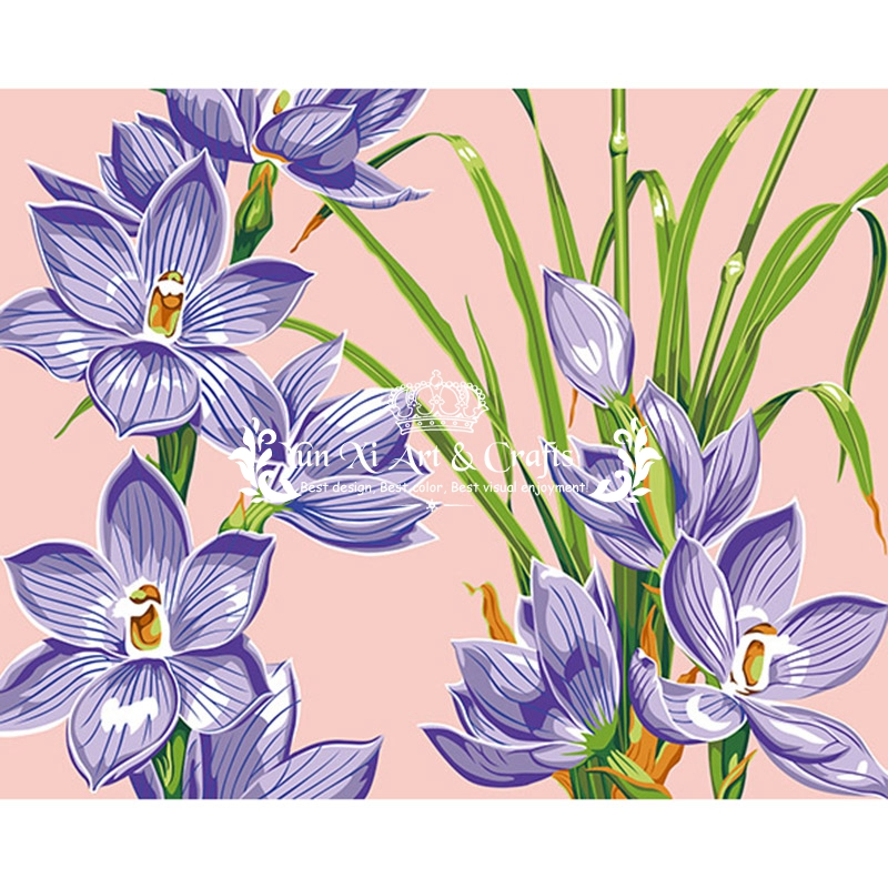 Hot Narcissus purple flower Painting By Numbers Hand Painted Canvas Oil Paintings with frame Wall pictures For Living Room DY233(China (Mainland))
