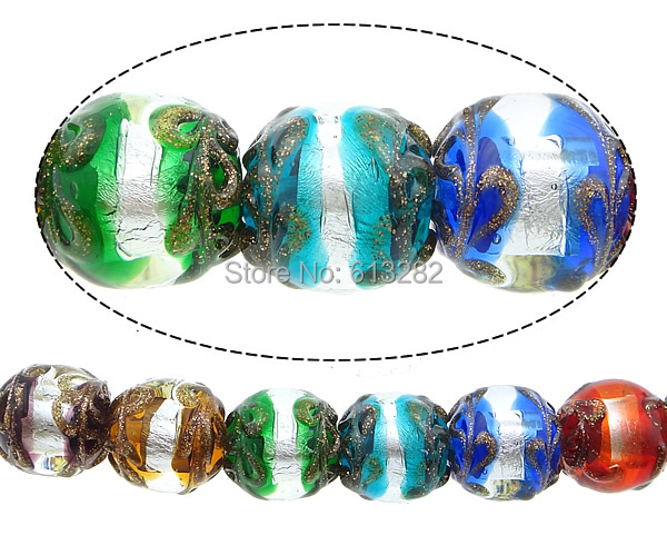 Free shipping!!!Gold Sand &amp; Silver Foil Lampwork Beads,Designer, Round, gold sand and silver foil, multi-colored, 15mm<br><br>Aliexpress