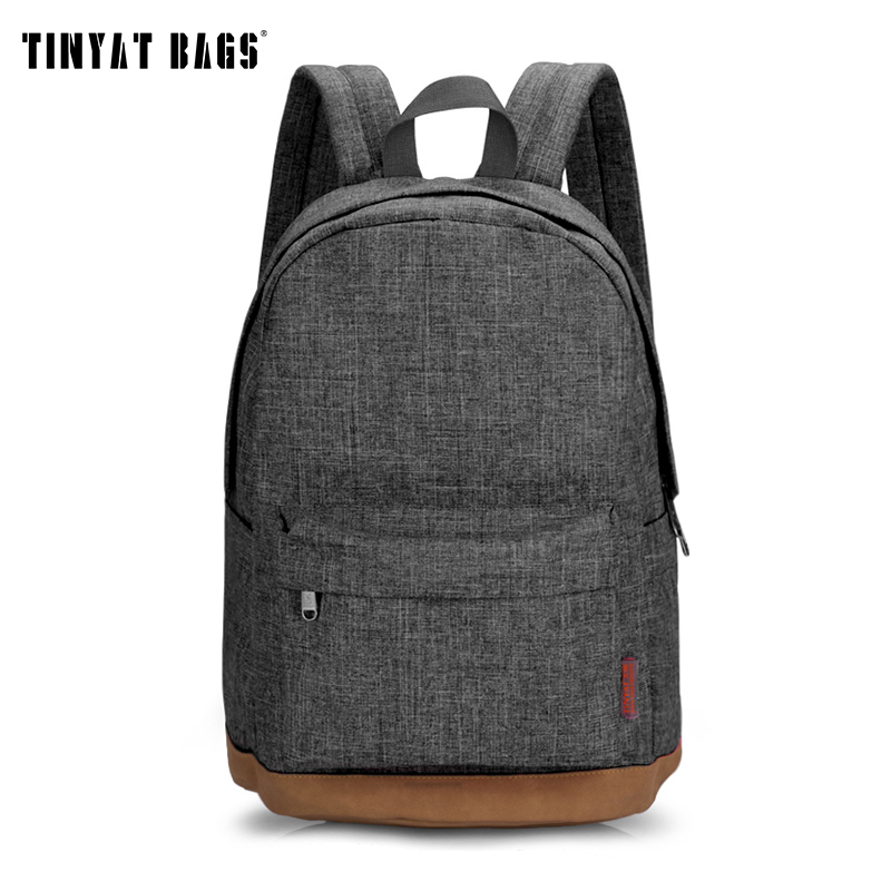 TINYAT Men Male Canvas College School Student Backpack Casual Rucksacks Travel Bag T101 Gray(China (Mainland))
