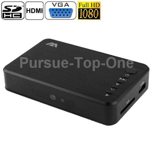 Mini Full HD 1080P Media Player with Charger Support HDD / SD Card / USB Flash Disk / HDMI / VGA Output (MP023)(China (Mainland))