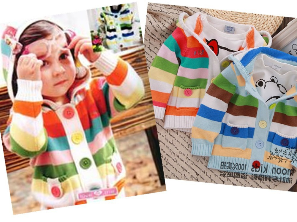 2014 spring children kids candy sweet colorful sweater stripe cardigan baby boy cute girls weater two colors - beizhen import and export trade co.,ltd store