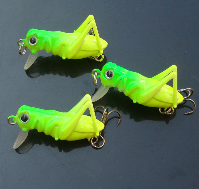 Free Shipping 3pcs/lot 4cm 3g Artificial Locust Grasshopper Lures Popper Fishing Tackle Hard Bait Minnow Fishing Lure(China (Mainland))