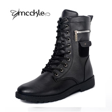 Men's Military Combat Lace up Mid Calf High Credit Card Knife Money Wallet Pocket Boots Brand Design Fashion Casual Men Shoes(China (Mainland))