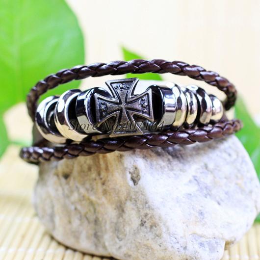 CB17- Cross Bangle Zinc Alloy Brown Genuine Leather Bracelet men Braided Rope Fashion Jewelry - SunFlower Trade Co.,Ltd store