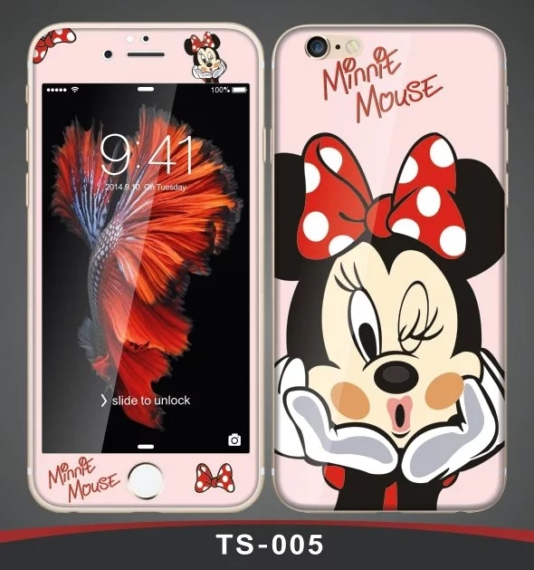3D Curved edge Tempered Glass film Screen Protector+back cover for iPhone 6 case 6S 6 Plus 6s plus Fashion cute cartoon pattern