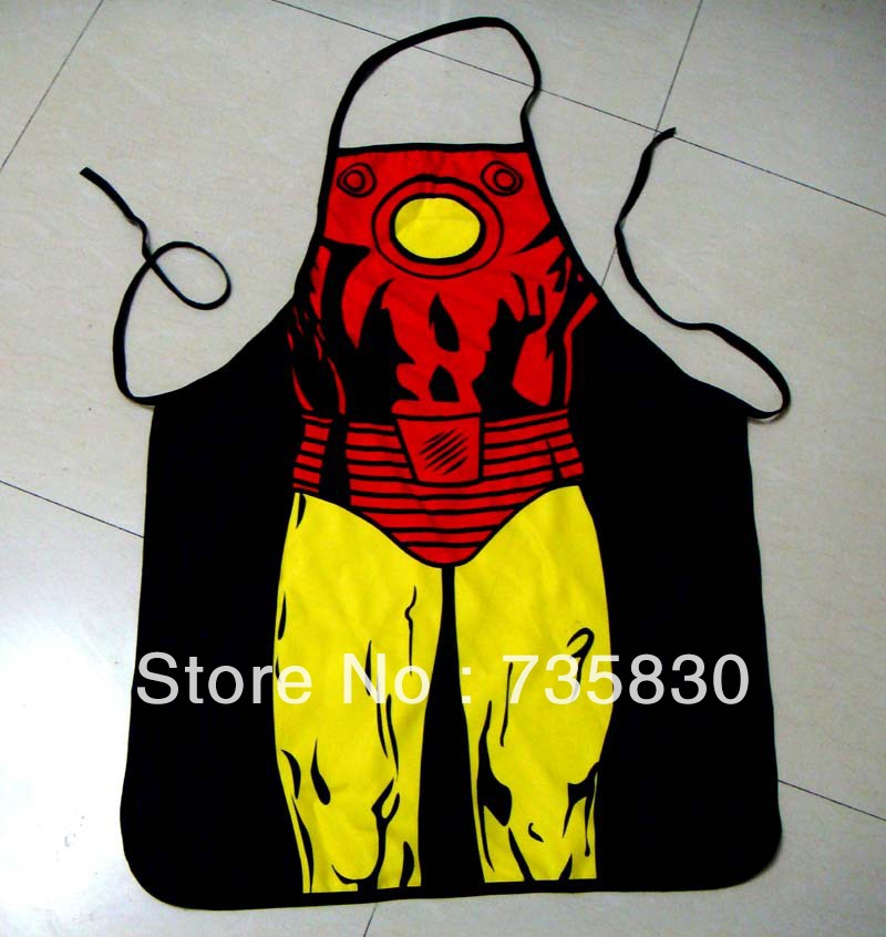 Novelty Iron Man Bar Cooking Apron Valentine's Day Couple Birthday Party Tricky Surprise Gift apron cleaning accessories(China (Mainland))
