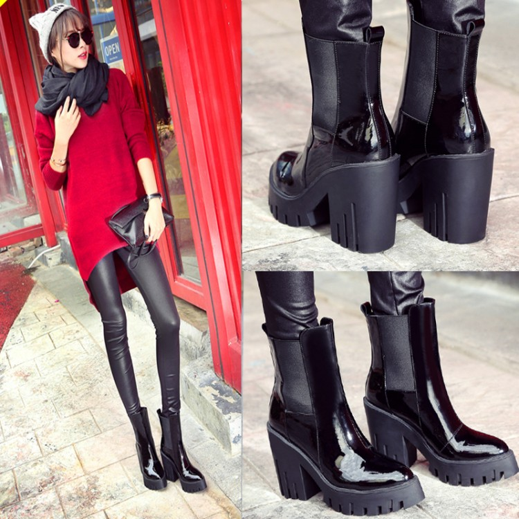 Black Cowhide Patent Leather Heavy-bottomed Thick Heels Short Boots 2015 Winter New High Quality Women Fashion Ankle Booties<br><br>Aliexpress