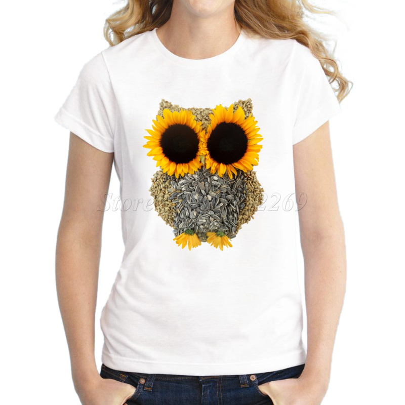New Fashion 3d Creative Sunflower Design Owl Women's Printed T shirt Novelty Owl You Need Is Love Basic Tops Girl's Funny Tee(China (Mainland))