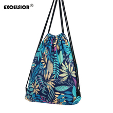 Buy EXCELSIOR Flower Printed Canvas Drawstring Bag Women Mochila Bucket Travel School Backpack Casual Sack Pack Shoulder Bags for $4.39 in AliExpress store