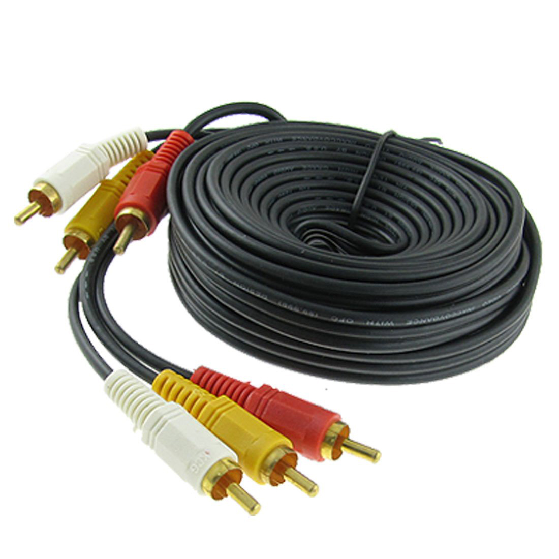 HFES Triple 3 RCA Male to Male Audio Video DVD TV AV Cable 4.6M Long Black(China (Mainland))