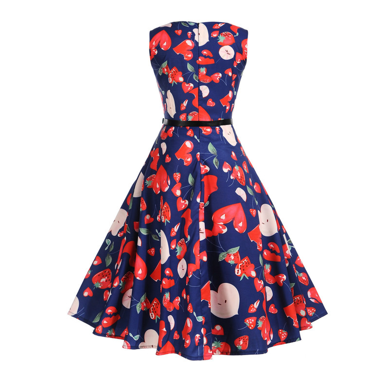 Women 50s 60s Retro Vintage Dress Sweet Heart And Strawberry Print ... 7322546415c3